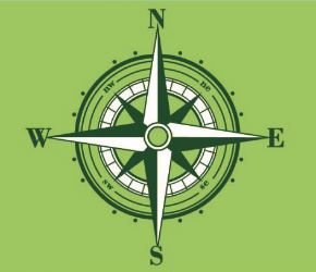 Green background with compass for Trailblazers logo